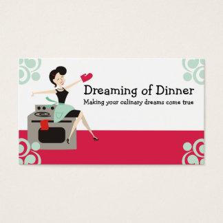 Dona de casa retro culinária, cozinheiro chefe, cartão de visitas