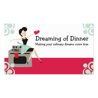 Dona de casa retro culinária, cozinheiro chefe, cartão de visita