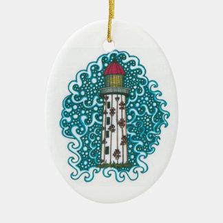 Doodle do farol ornamento de cerâmica oval