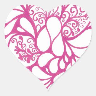 Doodle do rosa quente adesivo coração