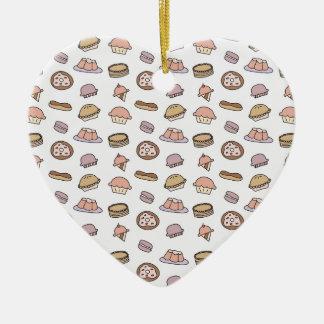 Doodle dos doces das sobremesas ornamento de cerâmica coração