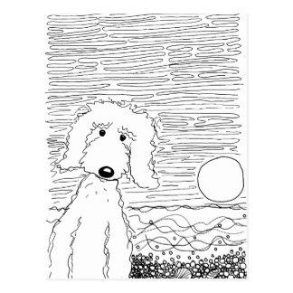 Doodle dourado na praia cartão postal