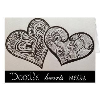 Doodle em meu coração cartão comemorativo