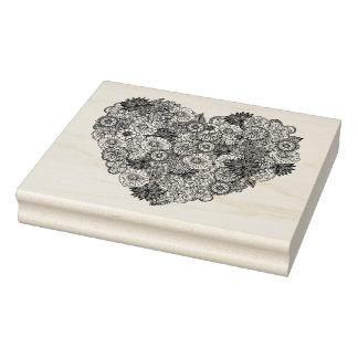 Doodle floral do coração carimbo de borracha