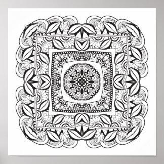 Doodle quadrado decorativo bonito 2 poster