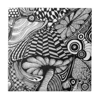 Doodles 2 - rabiscos 2 azulejo quadrado pequeno
