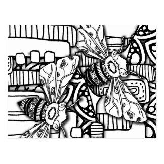 Doodles da abelha cartão postal