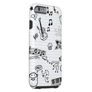 Doodles da música do caderno do divertimento capa tough para iPhone 6