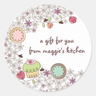 Doodles doces da padaria das flores dos cupcakes adesivo