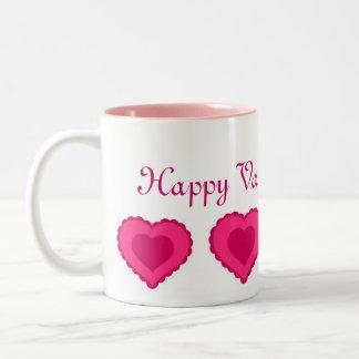Dos namorados cor-de-rosa dos corações do amor a c canecas