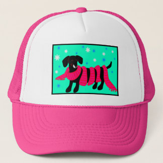 Doxie no boné cor-de-rosa