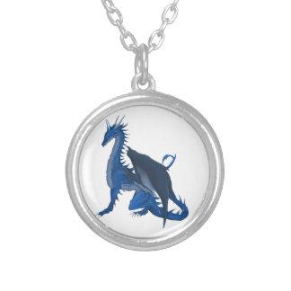 Dragão azul colar com pendente redondo