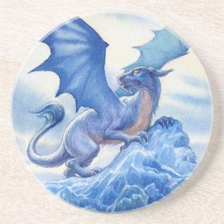 Dragão azul feroz porta copos de arenito