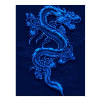 Dragão chinês azul cartão postal