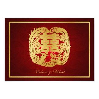 Dragão da felicidade/Phoenix dobro chineses RSVP Convite 8.89 X 12.7cm