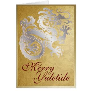 Dragão de prata - cartão de Yule