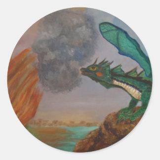 Dragão de respiração do fogo adesivos redondos