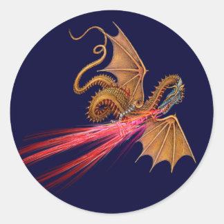 Dragão de respiração do fogo - etiqueta adesivo
