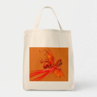 Dragão de respiração do fogo sacola tote de mercado
