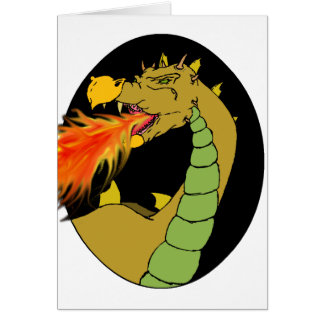 Dragão de respiração do fogo verde cartão comemorativo