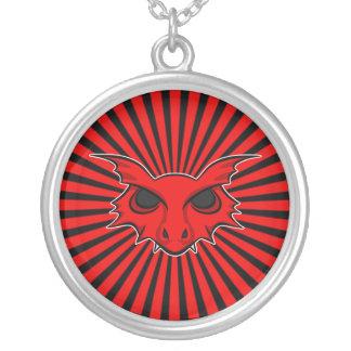 Dragão de respiração do fogo vermelho colar com pendente redondo