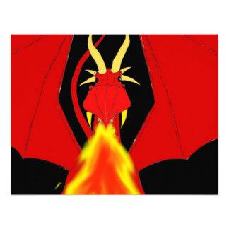 Dragão de respiração do fogo vermelho convites personalizado
