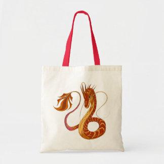 Dragão do coral do fogo sacola tote budget