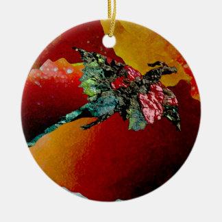 Dragão do fogo ornamento de cerâmica redondo