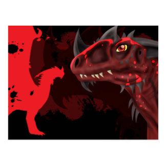 Dragão do fogo (versão escura) cartão postal