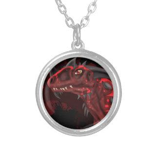 Dragão do fogo (versão escura) colar com pendente redondo