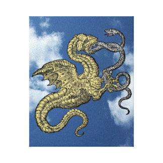 Dragão do ouro contra o cobra de prata no céu impressão em tela