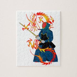 Dragão do Swordsman e do fogo de Kendo Quebra-cabeças De Fotos