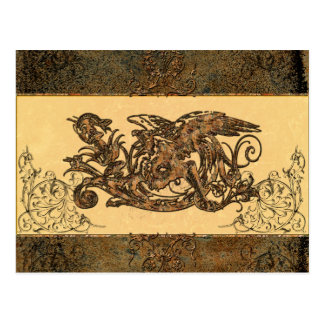 Dragão impressionante feito do metal oxidado cartão postal