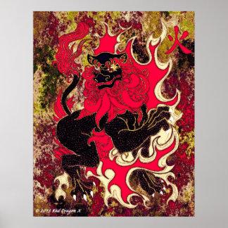 Dragão japonês do fogo (preto) poster