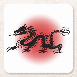 Dragão tradicional chinês porta-copo de papel quadrado