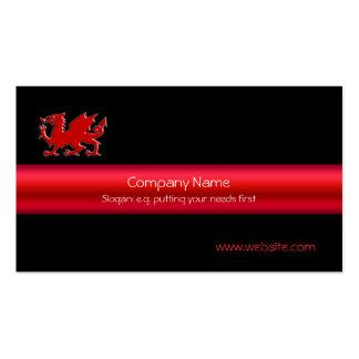 Dragão vermelho de Galês no preto, e tira do Cartão De Visita