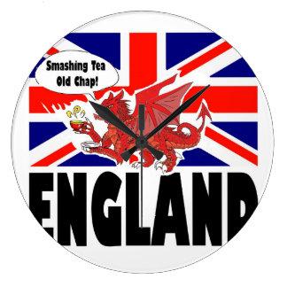 Dragão vermelho de Wales no tempo do chá Relógios De Paredes