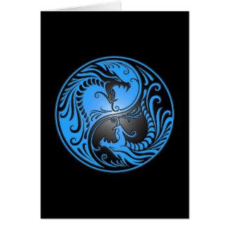 Dragões, azul e preto de Yin Yang Cartão Comemorativo