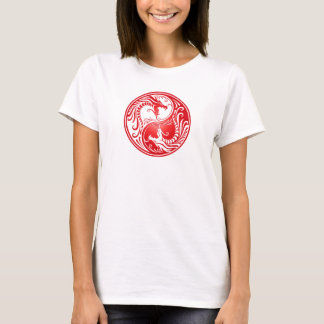 Dragões de Yin Yang, vermelhos Tshirts