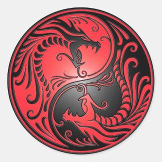 Dragões, vermelho e preto de Yin Yang Adesivo