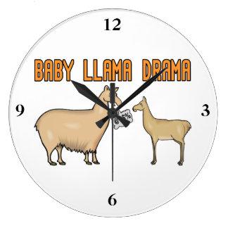 Drama do lama do bebê relógio de parede