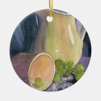 Drapeja e uvas ornamento de cerâmica redondo