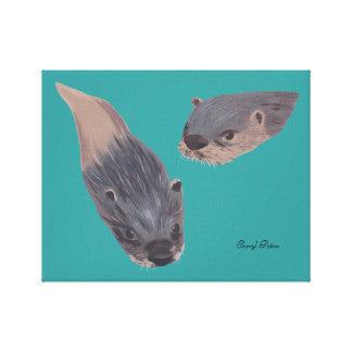 Duas lontras nadadoras que pintam canvas