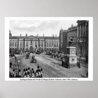 Dublin do século XIX Ireland, verde da faculdade Poster