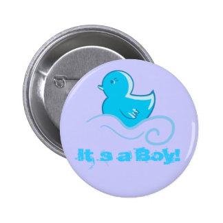 ducky azul ele ` s um botão do menino bóton redondo 5.08cm