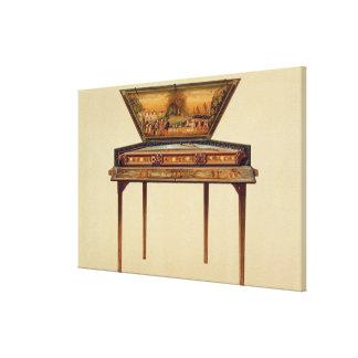 Dulcimer martelado em um soundbox pintado, 18o cen impressão em canvas
