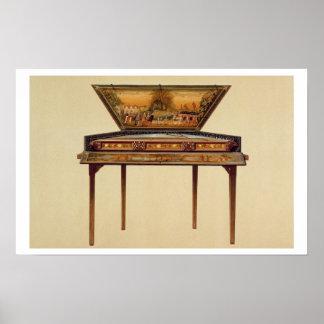 Dulcimer martelado em um soundbox pintado, 18o cen poster