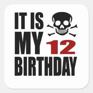 É meu 12 designs do aniversário adesivo quadrado