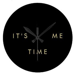 É mim ouro elegante do tempo no preto relógios para pendurar