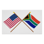 E.U. e bandeiras cruzadas África do Sul Impressão